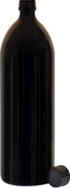 Violettglasflasche rund 1 L