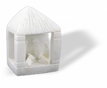 "Krippe ""Haus"" 7 cm, Unikat"