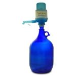 Glasflasche 5 L. mit Wasserpumpe blau